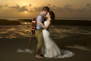 guitar sunset wedding - pinkbride