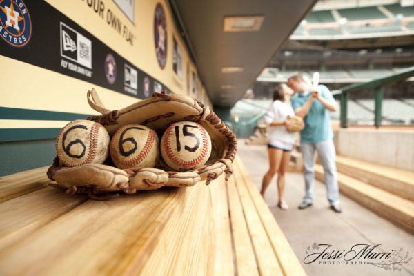 Baseball Dugout Engagement Photography