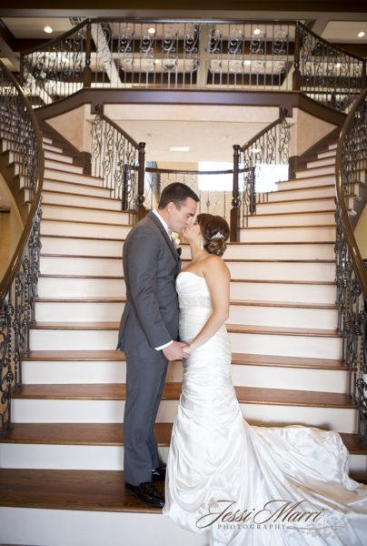 Staircase Wedding Kiss